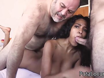 Exotic Indian overprotect with big naturals in trine with 2 old hideous dudes